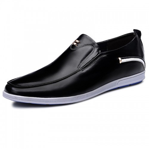 Slip on elevator casual shoes lightweight loafers 2.4inch / 6cm Black