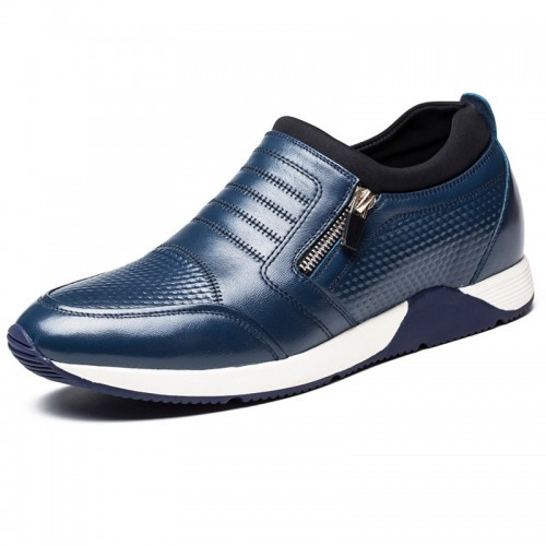 Fashion side zip hidden heel loafers 2.4inch / 6cm Blue