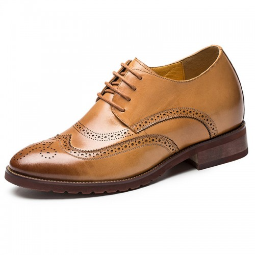 Wing-tip tall brogue dressy formal shoes 2.8inch / 7cm Yellowish-brown