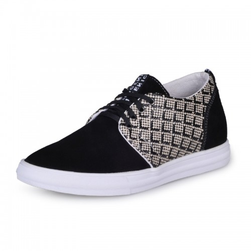 Black Korean heel height shoes elevated Skateboard shoe for extra height 6cm / 2.36inches