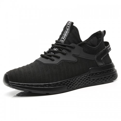 Relaxed Elevator Flyknit Trainers for Men Increase Taller 2.4inch / 6cm Black Strecth Fabric Running Shoes