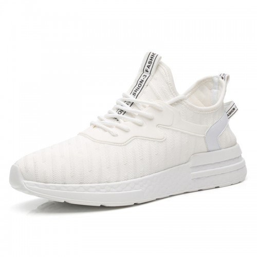 Relaxed Height Increasing Flyknit Trainers for Men Taller 2.4inch / 6cm White Strecth Fabric Running Shoes
