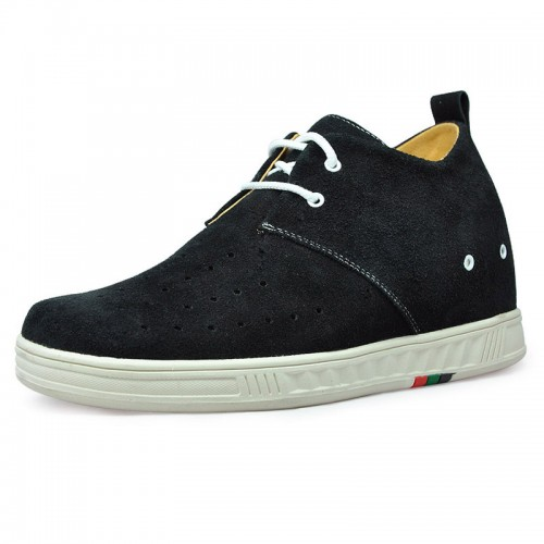 Black casual increase shoes become taller 7cm / 2.75inches