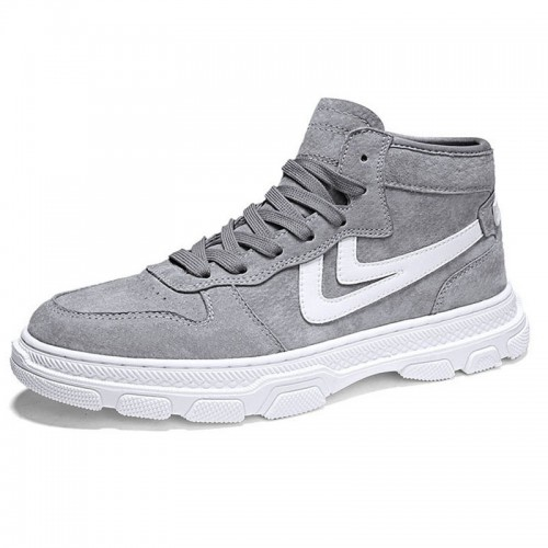 3inch Hidden Lift High Top Sneakers for Men Taller 7.5cm Grey Leather Elevator Skate Shoes