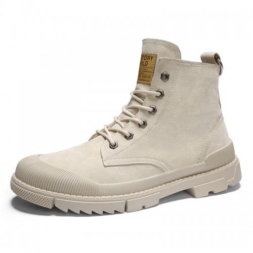 Elevator Men Desert Boots Increase 2.8inch / 7cm Beige Trendy Hidden Height Steel Toe Working Shoes