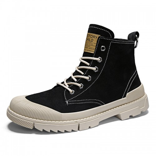 Elevator Desert Boots for Men Taller 2.8inch / 7cm Black Trendy Hidden Lift Steel Toe Working Shoes