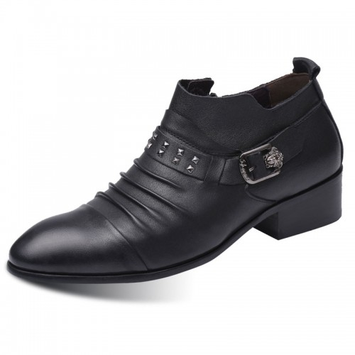 3inch Stylists Elevator Shoes Buckle Strap Slip On Dress Shoes Side Zip Pointy Formal Loafers