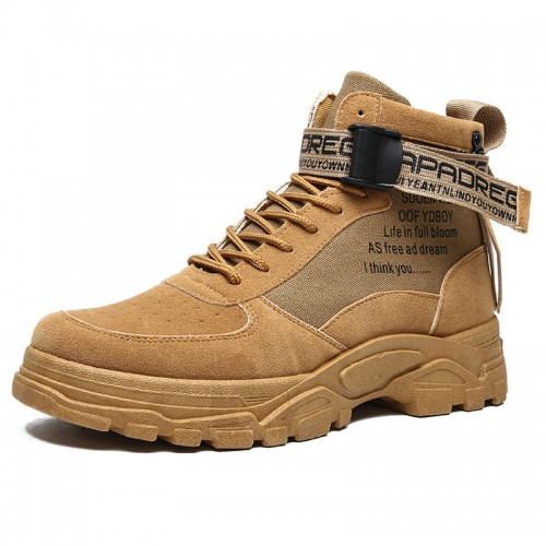 Khaki Height Taller Street Boots Classic Casual Martin Boot Increase 3.2 inch / 8 cm