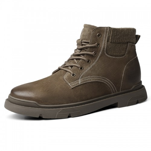 INS Height Elevator Desert Boots Khaki Leather Work Boot Trendy Martin Boot Boost 2.4 inch / 6 cm