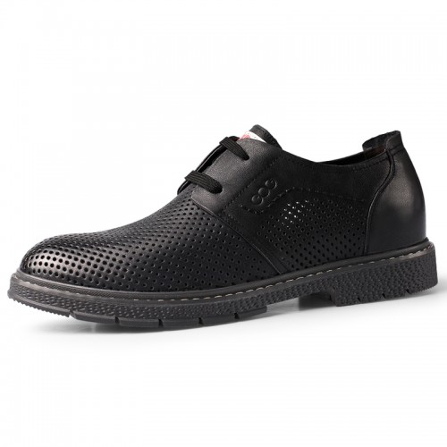 Black Hidden Taller Perforated Dress Shoes Increase 2.4inch / 6cm British Hollow Out Lightweight Formal Oxfords