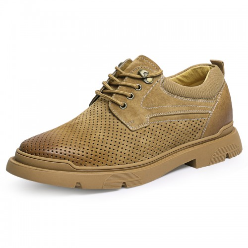 Height Increasing Perforated Work Shoes for Men Add 2.4 inch / 6 cm Breathable Elevator Outdoor Casual Shoes
