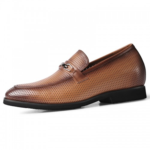 Summer Perforated Lift Formal Loafers Increase Taller 2.2inch / 5.5cm Soft Yellow-Brown Leather Slip On Dress Sandals