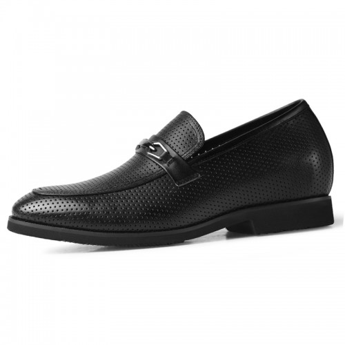 Summer Perforated Taller Men Loafers Increase Height 2.2inch / 5.5cm Soft Black Leather Slip On Dress Sandals