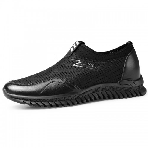 Hollow Out Hidden Lift Loafers for Men Add Height 2.4inch / 6cm Breathable Mesh Slip On Summer Fashion Sneakers