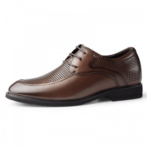Brown Hidden Height Hollow Out Leather Oxfords Gain Height 2.4inch / 6cm Breathable Elevator Business Formal Shoes