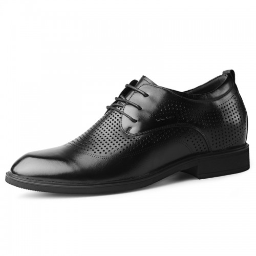 Hollow Out Elevator Formal Shoes for Men Add Taller 2.4inch / 6cm Black Height Insoles Summer Tuxedo Derbies