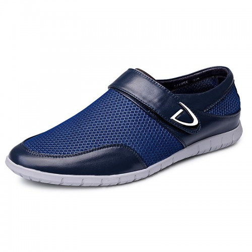 Comfortable taller Velcro loafers elevated sneakers 2.4inch / 6cm Blue