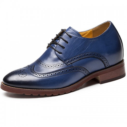 Wing-tip height increasing brogue dressy formal shoes 2.8inch / 7cm Blue