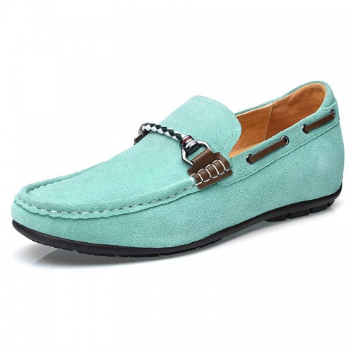 All match height boat shoes green suede leather loafers 2inch / 5cm