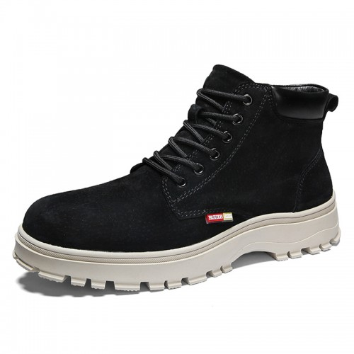 Elevator Martin Boots for Men Increase Taller 2.8inch / 7cm Black British Trendy Ankle Boot