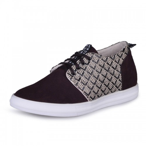 Coffee Korean height grow shoes elevating Skateboard shoe that make you look taller 6cm / 2.36inches