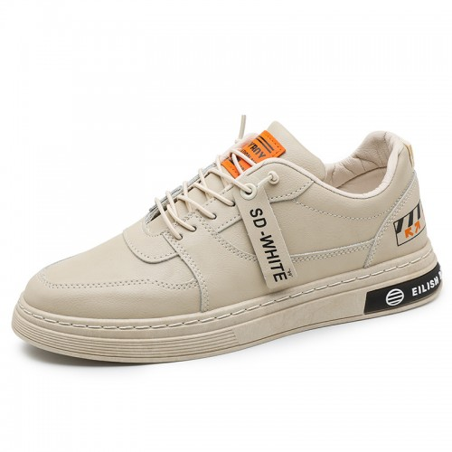 Hidden Lift Skate Shoes for Men Boost 2.4 inch / 6 cm Beige Leather Low Top Casual Walking Shoes