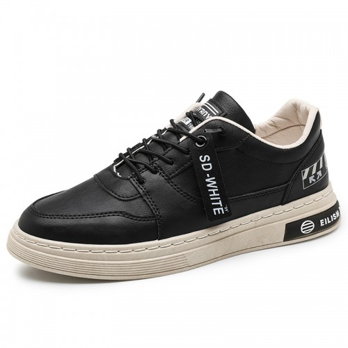 Men Heighten Skate Shoes Increasing 2.4 inch / 6 cm Black Leather Low Top Casual Walking Shoes