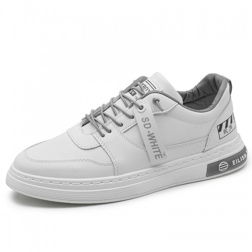 All Match Men Elevator Skate Shoes Taller 2.4 inch / 6 cm White Leather Low Top Casual Walking Shoes