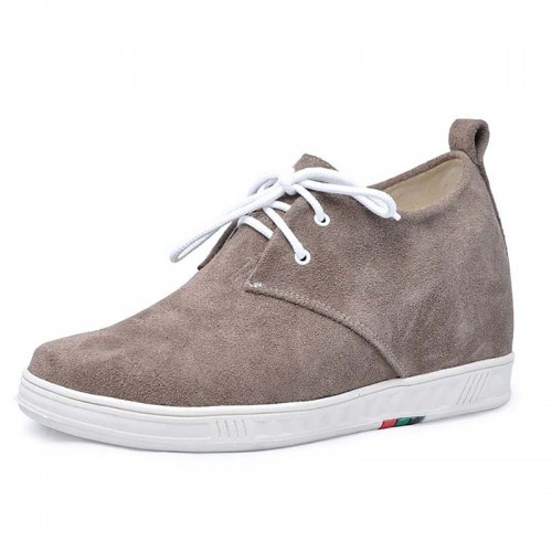 Khaki men increasing casual shoes grow tall 7cm / 2.75inches