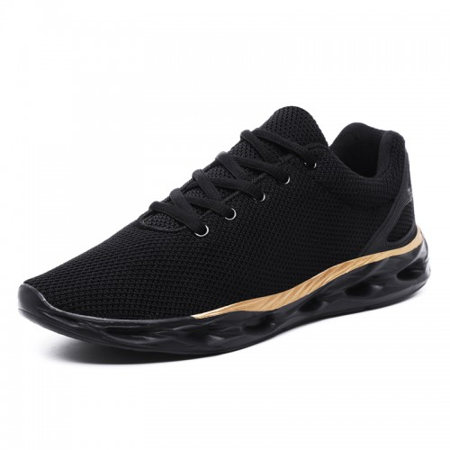 Black-Gold Elevator Men Flyknit Trainers Increase Height 2inch / 5cm Low Top Trendy Running Shoes