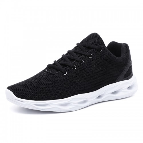 Black-White Elevator Flyknit Trainers for Men Get Height 2inch / 5cm Low Top Trendy Running Shoes