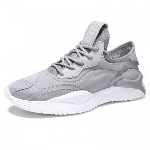 Trendy Grey Tongueless Sneaker Height Elevator Walk Running Shoes Gain Taller 2.4 inch / 6 cm