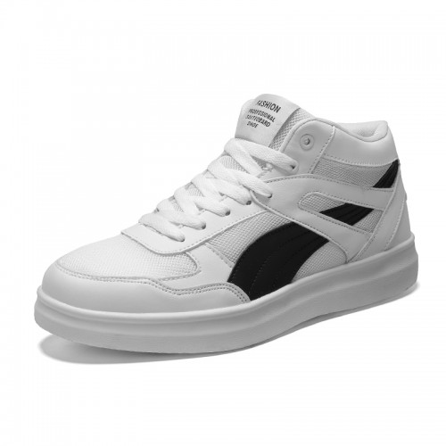 White-Black High Top Unisex Sneakers Increase Taller 3.5inch / 9cm Elevator Mesh Skate Shoes