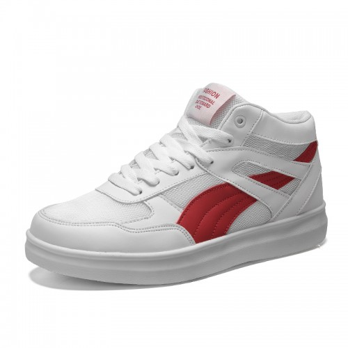 White-Red Unisex Sneakers Get Taller 3.5inch / 9cm High Top Elevator Mesh Skate Shoes