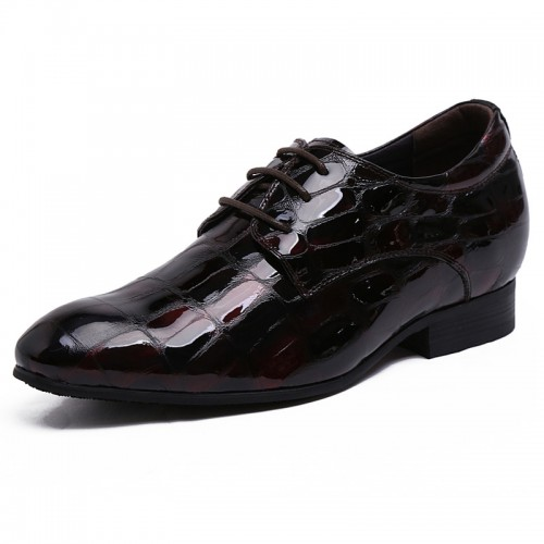 Tall 3.2inch / 8cm British red brown patent leather height business shoes