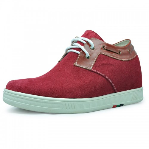 Red men height increasing elevator casual shoes grow tall 7cm / 2.75inches