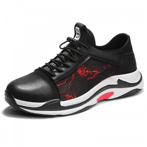 Black-red Men Taller Sneakers Increase 2.6inch / 6.5cm Slip-On Cap Toe Casual Walking Shoes