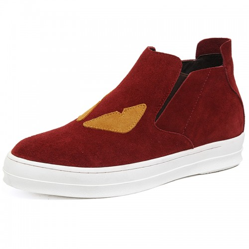 Fashion height increasing boots for men suede leather casual ankle boots taller 6cm / 2.4inch