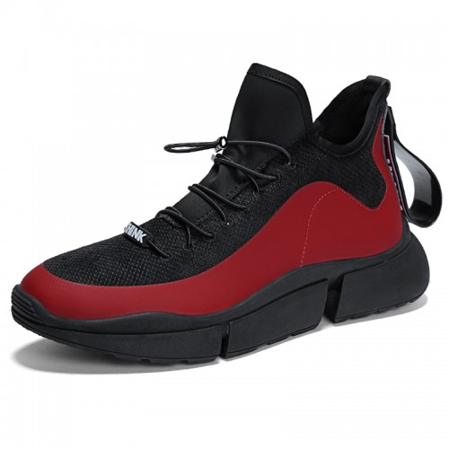 Red Youth Elevator Trainers Increase Height 2.8inch / 7cm Slip On Casual Sports Shoes