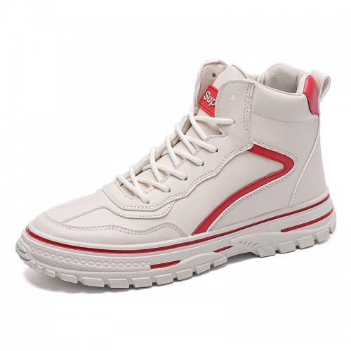 Beige Trendy Hidden lift Skateboarding Shoes Men High Top Elevator Sneakers Add Height 2.8inch / 7cm
