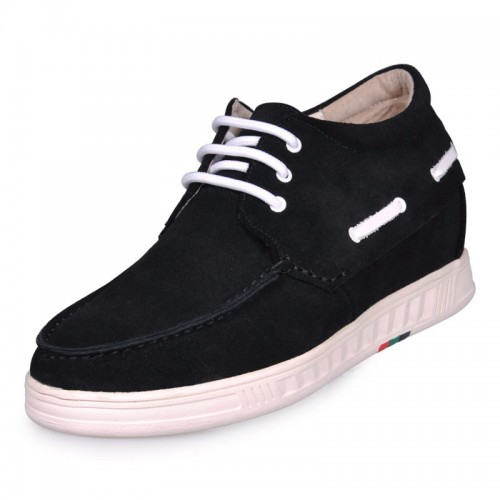 Black Suede height increase shoes 7cm/2.75inch taller shoes 3 locors