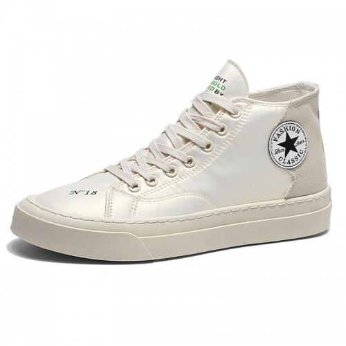 Beige Elevator High Top Skateboarding Shoes Comfortable Canvas Sneakers Add Height 2.8 inch / 7 cm