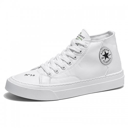 White Elevator High Top Skateboarding Shoes Comfortable Canvas Sneakers Increase 2.8 inch / 7 cm