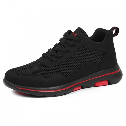 Summer Elevator Men Fitness Shoes Add Height 2.4 inch / 6 cm Black Mesh Fashion Trainers