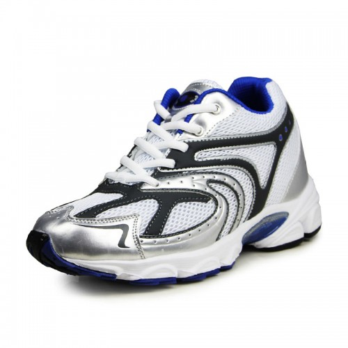White breathable mesh elevator athletic shoes tall 7.5cm / 2.95inches height increasing sport shoes