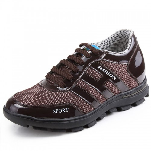 Brown height incerase elevating shoes golf shoes style growing taller shoes 6.5 cm / 2.56 inch