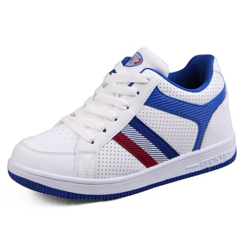 2014 height increasing skateboard shoes add tall 6.5cm / 2.56inches white/blue casual sports shoes