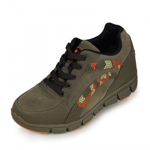 Army Green frosted elevator running shoes can be taller 8cm / 3.15inches height increasing sneakers