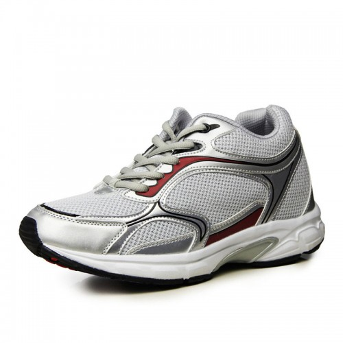 Silver breathable mesh elevator sports shoes tall 7.5cm / 2.95inches height increasing Leisure shoes
