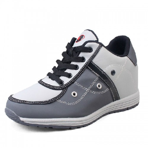 Grey lightweight elevator running shoes grow height 6.5cm / 2.56 inches skate board shoes